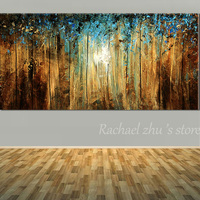 New Hand Painted Abstract Art Blue Tree Landscape Oil Painting On Canvas Abstract Landscape Wall Picture
