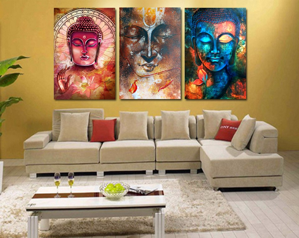 3 panel buddha image portrait art wall art picture home for Art for house decoration