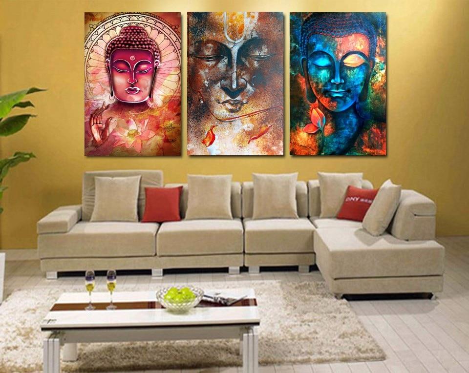 3 Panel Buddha Image Portrait Art Wall Art Picture Home