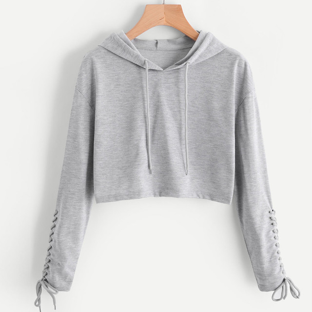 ecc88e50ef01 Hoodie Sweatshirt bandage sleeve Jumper solid gray casaul Women Crop ...
