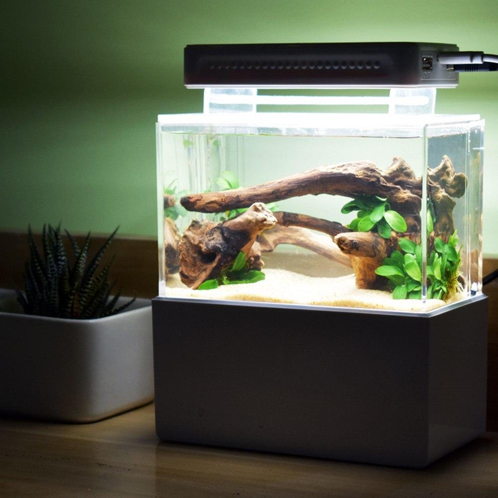 1L Mini réservoir de poisson en plastique Portable Aquarium aquaponique de bureau bol de poisson Betta avec Filtration de l'eau LED pompe à Air silencieuse pour les poissons