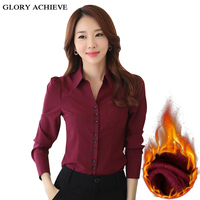 Office Shirt Woman Plus Velvet Thicking Long Sleeve Blouse V Neck Warm Womens Tops And Blouses Plus Size