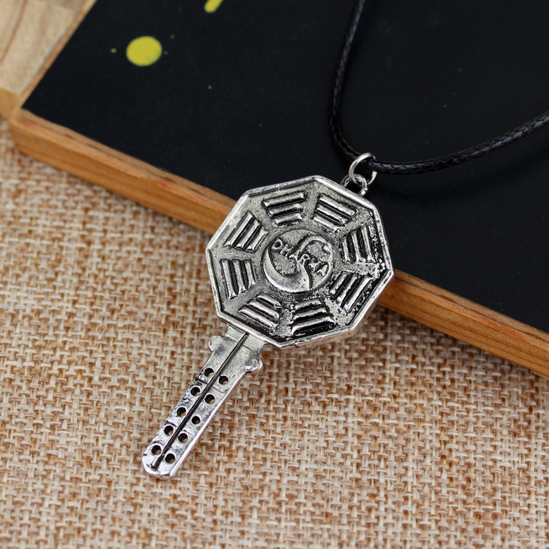 Classic Key Shape Pendant Necklace Lost The Dharma Swan Octagon Symbol Necklace Vintage for Women and Men