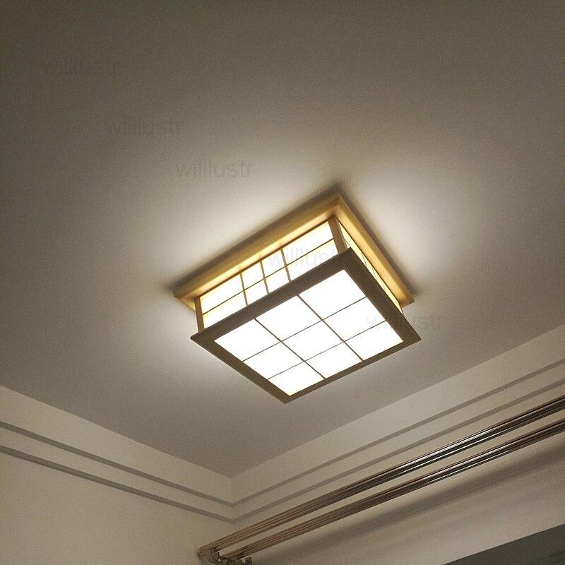 Willlustr светодиодный потолочный светильник из дерева, японский Деревянный светильник для отеля, дома, столовой, спальни, ресторана, акриловая панель осветительная потолочная - 2