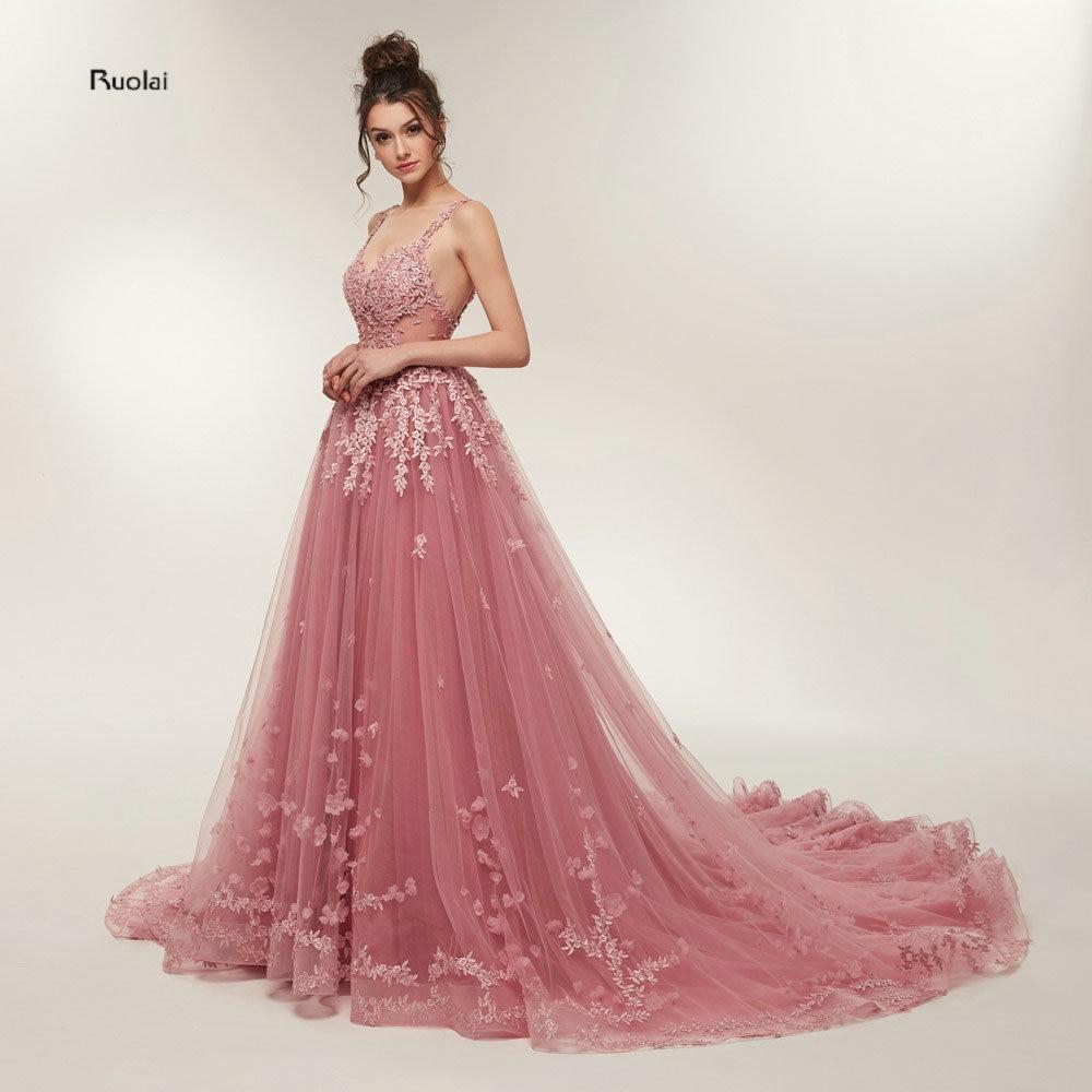 05871813fdd8c Hot Sale Gorgeous Prom Dresses 2018 Long Train A line Lace Appliques  Sleeveless Evening Party Dress