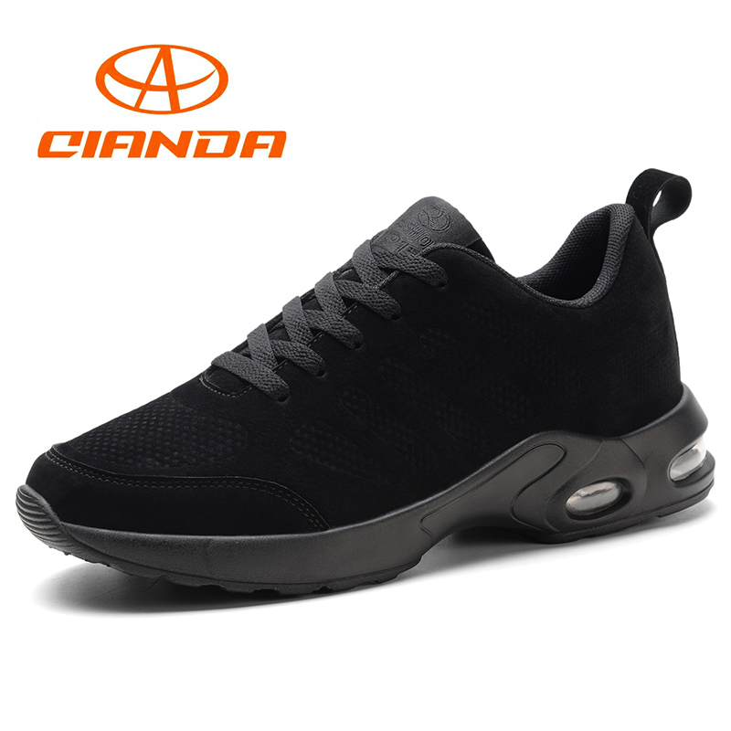 QIANDA Brand Cushioning Running Shoes for Men Comfortable Genuine Leather Man Sneakers Lace-up Light Jogging Sport Shoes Men