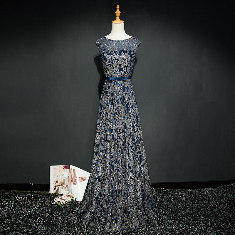 Walk Beside You Gold Evening Dresses Navy Blue Bling Long Vestido Longo De Festa 2019 Formal Dress Evening Gown Prom Dresses in Evening Dresses from Weddings Events