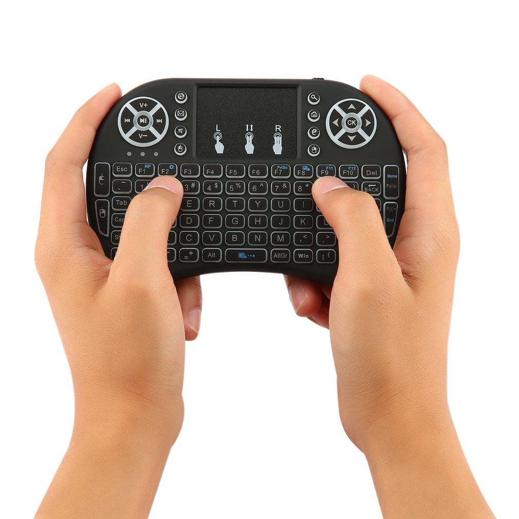 Calvas T2 2.4GHz Wireless Mini Keyboard with Touchpad Mouse Multi-media Portable Handheld Keyboard for PC Android TV Box Color: T2 Standard Version