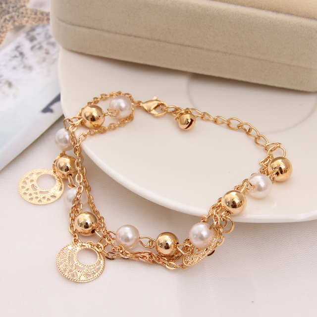 beaded simulated pearl bracelets women metal circle pendant charm bracelet for party