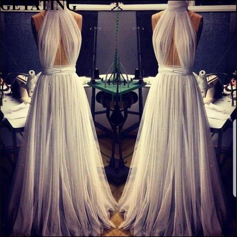 Bling Tulle Boho plage robe de mariée Sexy col haut trou de serrure découpé dos ouvert robes de mariée 2019 a-ligne bohème robes de mariée