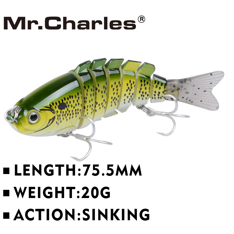 Mr.Charles CMCS 056 სათევზაო ჯადოქრობა 75.5 მმ / 20 გ Singking Quality Professional 7 Segment Swimbait Crankbait Hard Bait Fishing Tackle