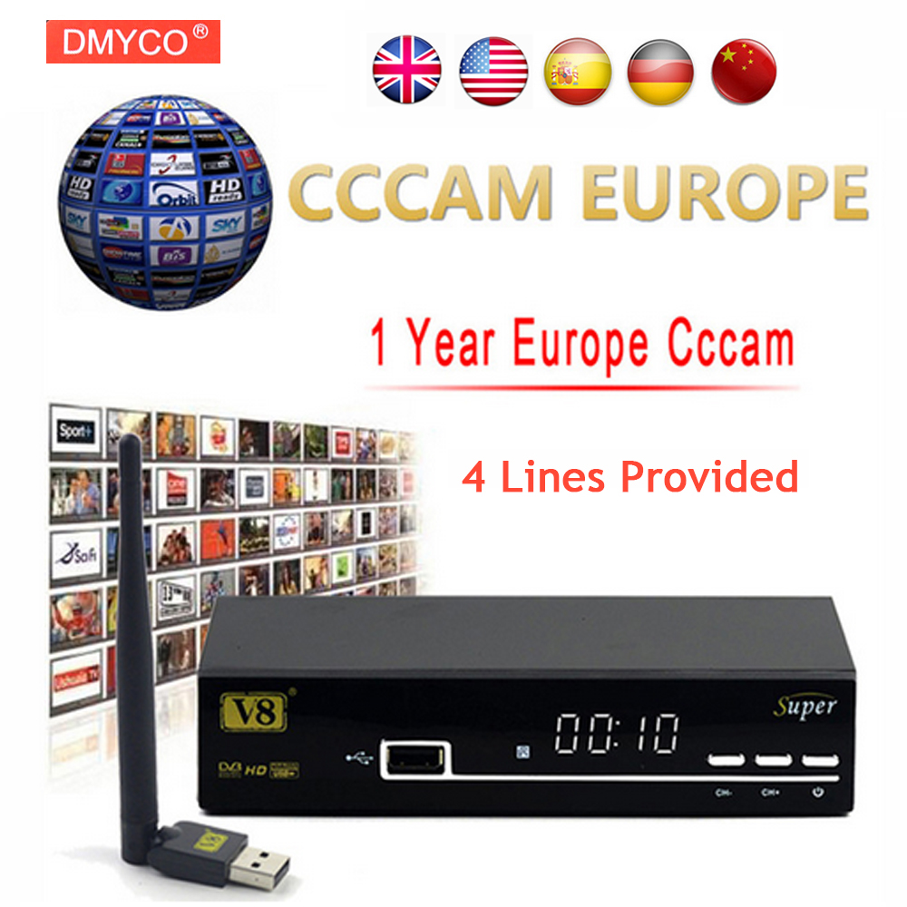 купить 1 Year Europe Cccam Server HD Freesat V8 Super DVB-S2 Satellite Receiver Full 1080P Italy Spain Arabic Cccam Cline With USB Wifi недорого