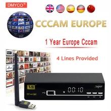 1 Year Europe Cccam Server HD Freesat V8 Super DVB-S2 Satellite Receiver Full 1080P Italy Spain Arabic Cccam Cline With USB Wifi