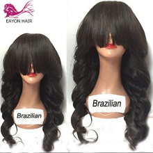 EAYON HAIR Brazilian Lace Front Wavy Wigs For Black Women Glueless Remy Human Hair Wigs Body Wave With Full Bangs 130Density цена 2017
