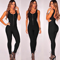 Autumn Winter New Black Slim Bodysuit Bandage Jumpsuits For Women Deep V Neck Personality Zipper Sexy Sleeveless Long Jumpsuits