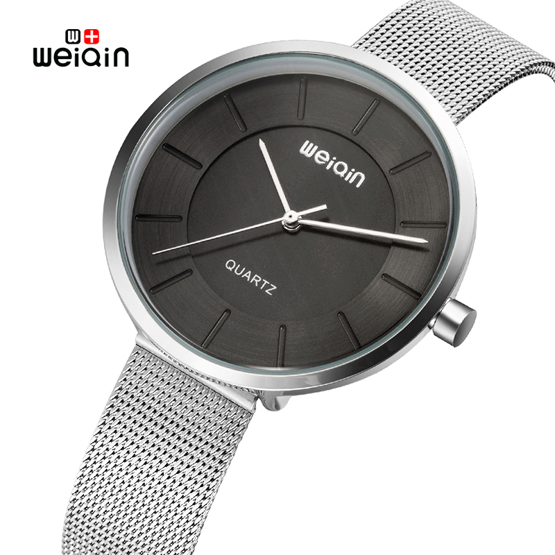 Weiqin Brand Ultra thin Women Watches 2018 Stainless Steel Mesh Strap Fashion Quartz Watch Woman 3ATM Waterproof Ladies Watch arabic numbers dial design women s fashion watch stainless steel ultra thin silver women quartz watches bgg brand horloge saat