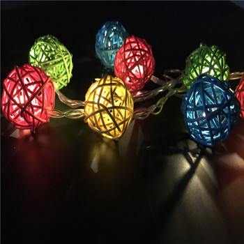 Multicolor Thailand Rattan Ball 20LED String Fairy Light Wedding Decoration Marriage Guirlande Lumineuse Led Xmas Lights Garland