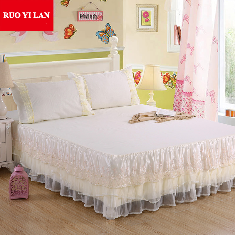 Light white pink purple Jacquard Silk Princess bedding set 3pcs silk Lace Ruffles bedspread bed skirt bedclothes king queen size