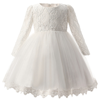 White Christening Baby Girl Dress Bebe Wedding Long Sleeve 1 Year Birthday Newborn Princess Dresses Bebe
