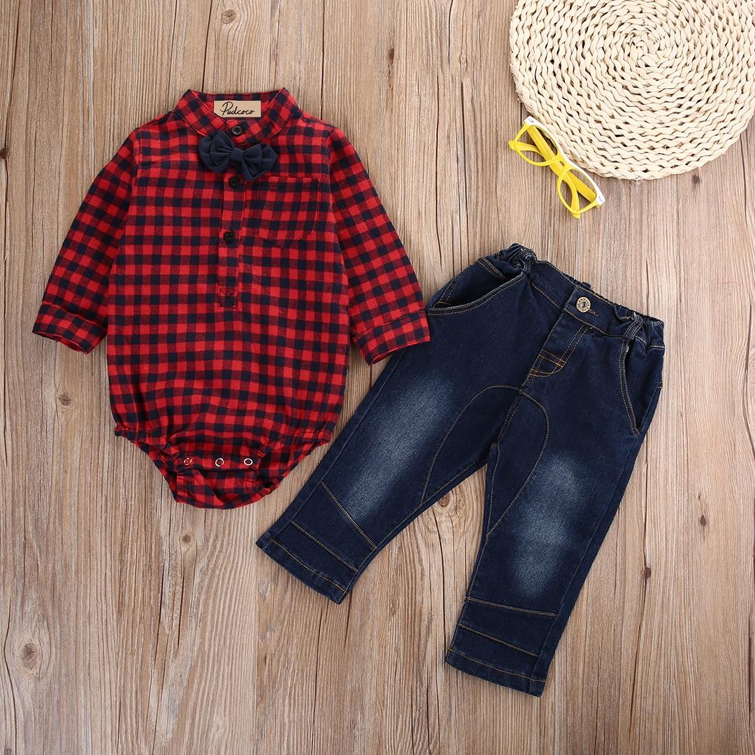 2pcs Newborn Infant Kids Baby Boy Romper Jumpsuit+Jeans Pants Clothes Outfit Set