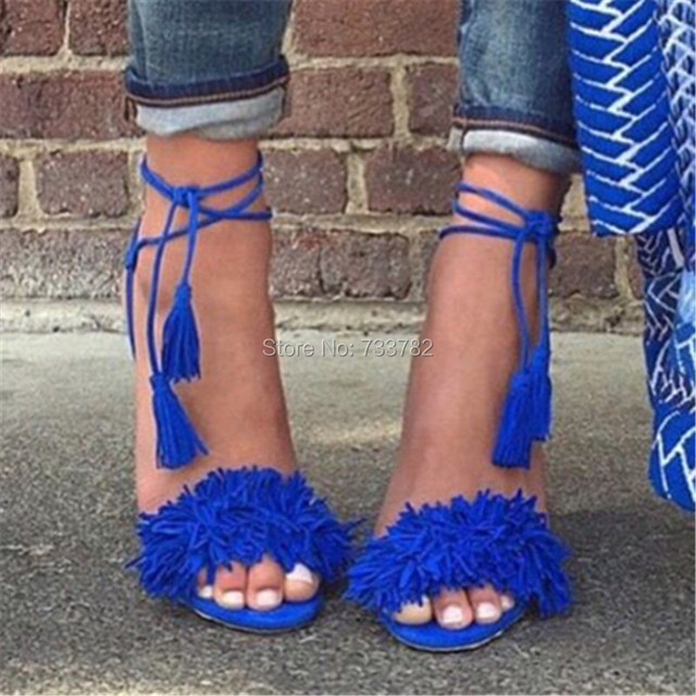 Brand AQUAZZURA Tassel Fringe Suede Women Sandals Lace Up Ankle Strappy High Heels Prom Wedding Shoes Woman Sandalias Mujer