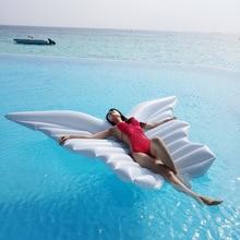 Óriás felfújható angyal szárnyak vízágy úszó réteg strand szórakoztató felfújható medence játékai fehér úszás Ring légpárnás napozó mat