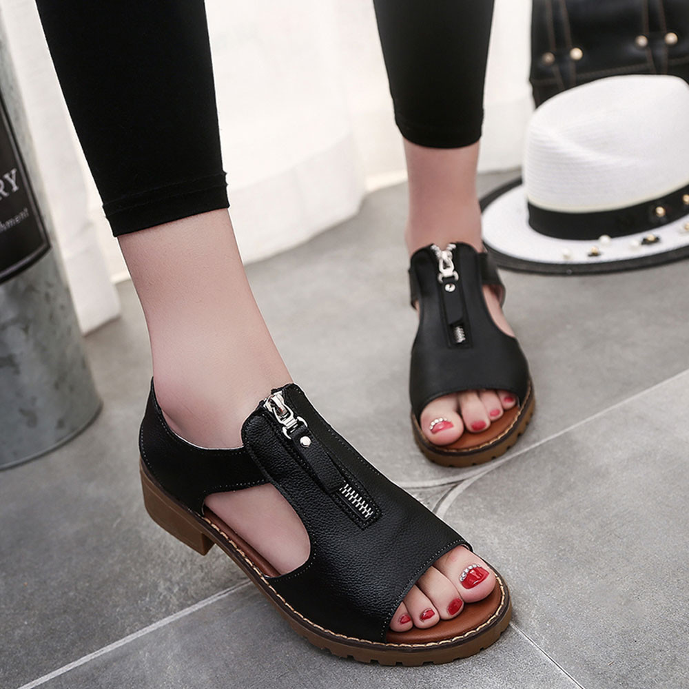 Sandals Women Summer Sport Casual Sandals Shoes Zipper Ladies Platform Sandals Wedges Zapatos Mujer Black White 2017 New Fashion 2017 summer new rivet wedges sandals creepers women high heel platform casual shoes silver women gladiator sandals zapatos mujer
