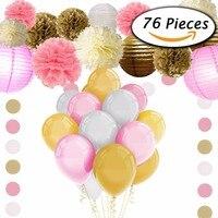 Hochzeit Geburtstag Party Papier DIY Dekor Set Rosa/Blau/Rot/Grün Papierlaterne Waben Ball Pompon Blume quaste Girlande