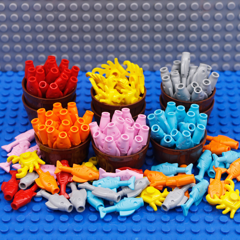 City Food Building Blocks Parts Fish Crab Animal MOC Ocean Friends Bricks Creator Compatible LegoINGlys Figures Accessories Toys