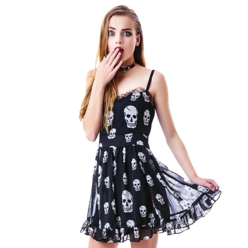 d5273b5d420 Spaghetti Strap Skeleton Printed Black Chiffon Prerry Style Summer Dress  Cute Girl s 2016 High Quality Sumemr Style A Line Dress