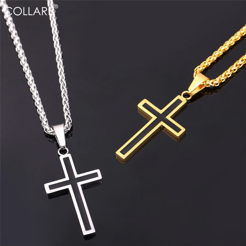 Collare Gold Cross Necklaces Men 36L Stainless Steel Religious Jesus Christian Crucifix Cross Necklace Women Men Jewelry P952 штаны сноубордические женские roxy creek aruba blue
