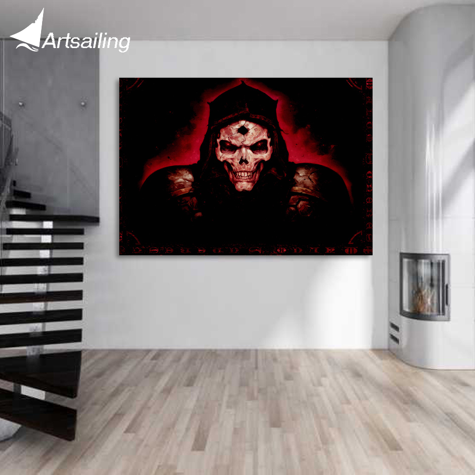 1 piece canvas art PC game poster dark horror skull canvas painting posters and prints wall picture for decorations XA1649C image