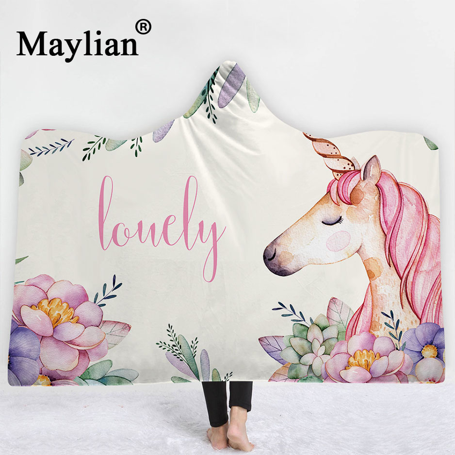 Unicorn animal Boho Mandala Hooded Blanket Floral Sherpa Fleece Lotus Wearable Throw Blanket Microfiber on Sofa Thick warm B39