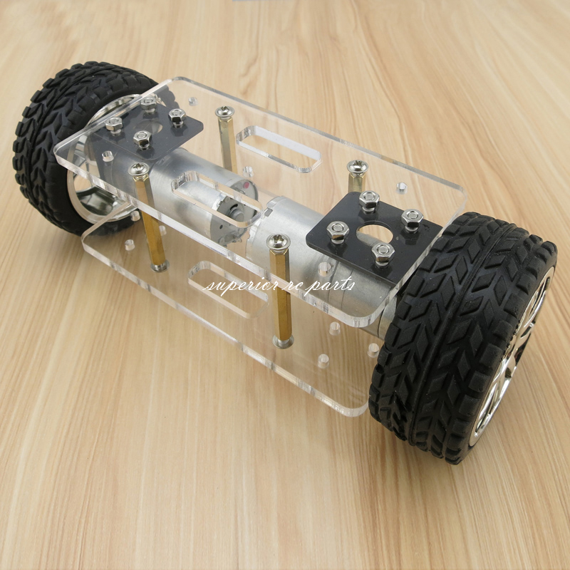 Acrylic Intelligent 2WD Tracking Robot Smart Car 2 Wheel Drive Chassis with 2ps 25 type Gear Motor Wheel Diameter 65mm 25 type aluminum alloy wheel drive car