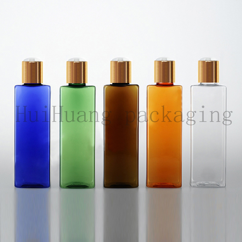 40pcs 250ml Square Travel Empty Clear blue brown Amber PET Plastic Bottle with Gold Disk Cap