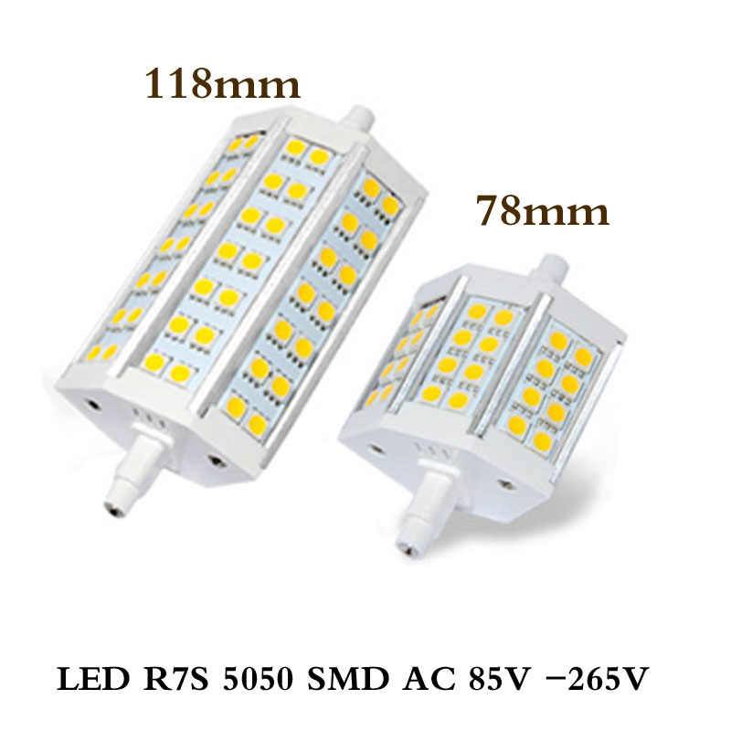Newest 12w 78mm LED R7S light 20w 118mm R7S lamp dimmable R7S 180 degree angle perfect replace halogen lamp AC85-265V