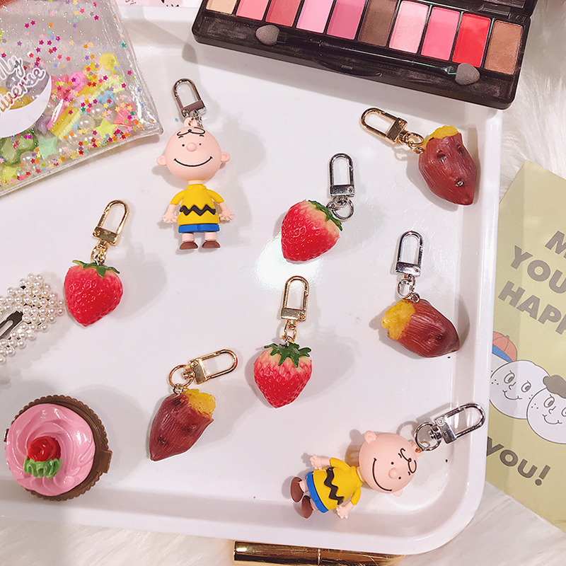 1PC Sweet Potato Strawberry Keychain Keyring For Women Girl Jewelry Simulated Fruit Food Cute Car Bandbag Key Holder Keyring K26