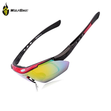 WOLFBIKE Professional Polarized Outdoor Sports Motorcycle Bicycle Sunglasses Eyewear Cycling Glasses Bike Goggles UV400 5 Lens