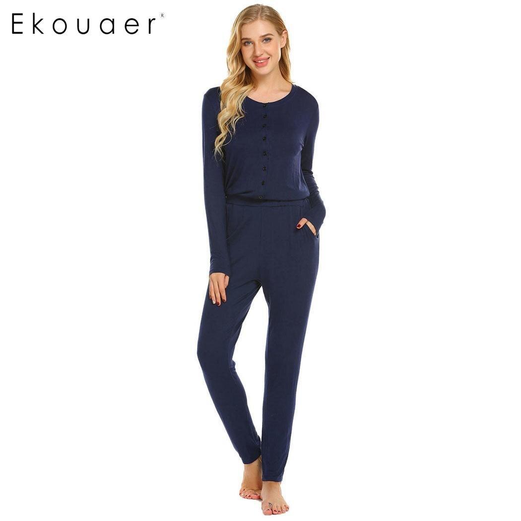 56617efe4b Detail Feedback Questions about Ekouaer Adult Women Onesies Homewear O Neck  Long Sleeve One Piece Pajama Set Sleepwear Female Soft Home Clothes Autumn  ...