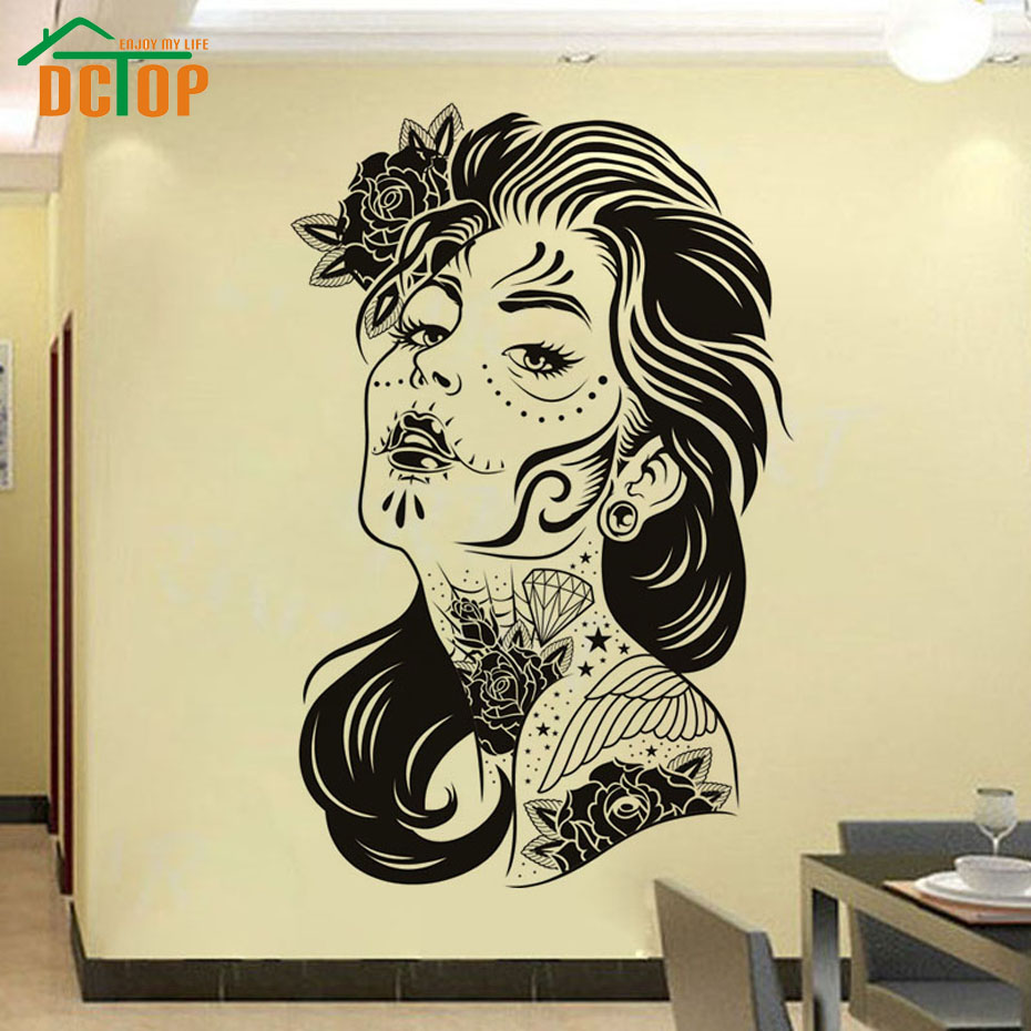 DCTOP Flower Art Tattooed Curly hair Woman Adhesive Wall Sticker ...