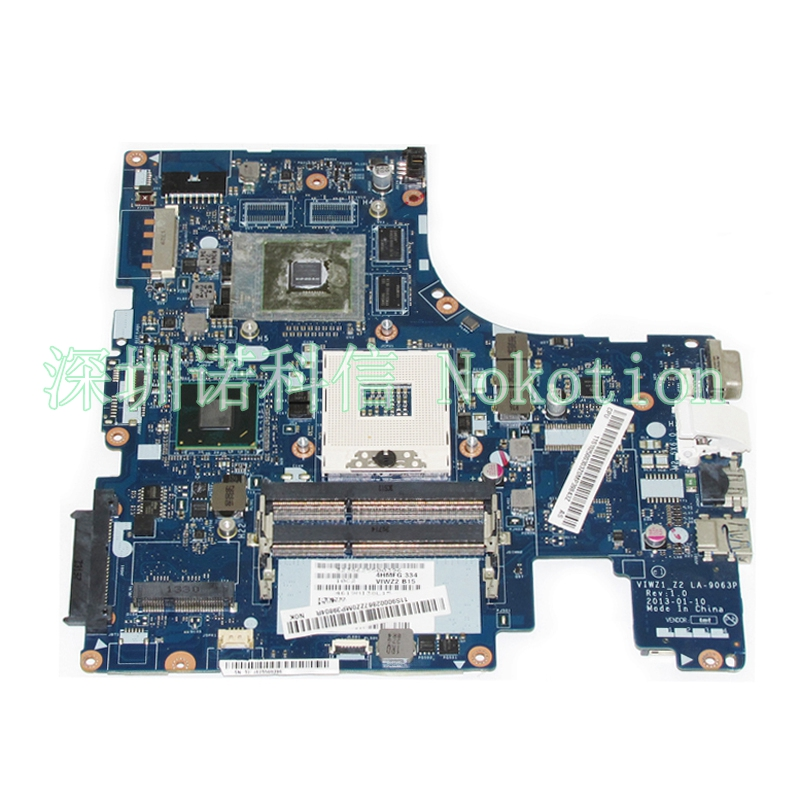 NOKOTION VIWZ1_Z2 LA-9063P Main Board For Lenovo IdeaPad Z500 Notebook PC Motherboard 15 Inch DDR3 GT740M 2GB Discrete Graphics nokotion laptop motherboard for dell vostro 3500 cn 0w79x4 0w79x4 w79x4 main board hm57 ddr3 geforce gt310m discrete graphics