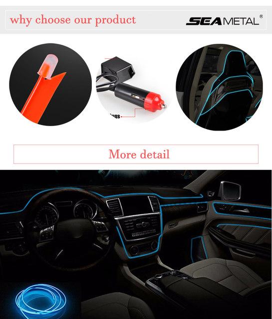 Online Shop 3m/5m Car 12V LED Cold lights Flexible Neon EL Wire Auto ...