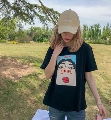 PUDO-JBH 1pcs Summer Harajuku Top Tee I Am Cool Funny Letter Print White T Shirt Women Korean Creative Female T-shirt Fashion