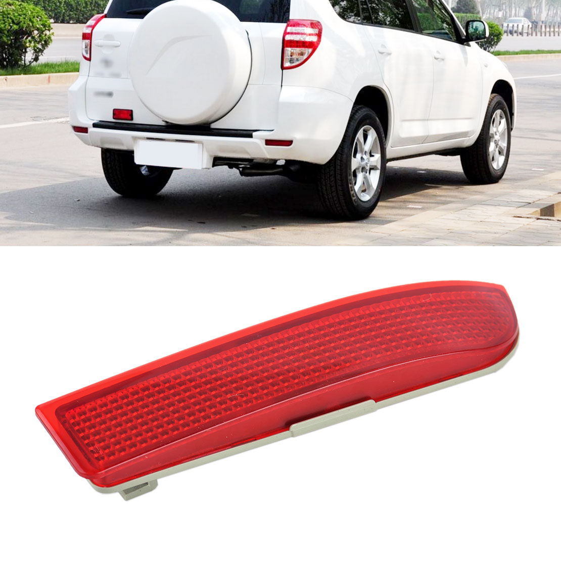 DWCX Car Plastic Red & Grey Right Bumper Rear Light Lamp Cover Reflector 81920-0R020 fit for Toyota RAV4 2009 2010 2011 2012 car rear trunk security shield shade cargo cover for nissan qashqai 2008 2009 2010 2011 2012 2013 black beige