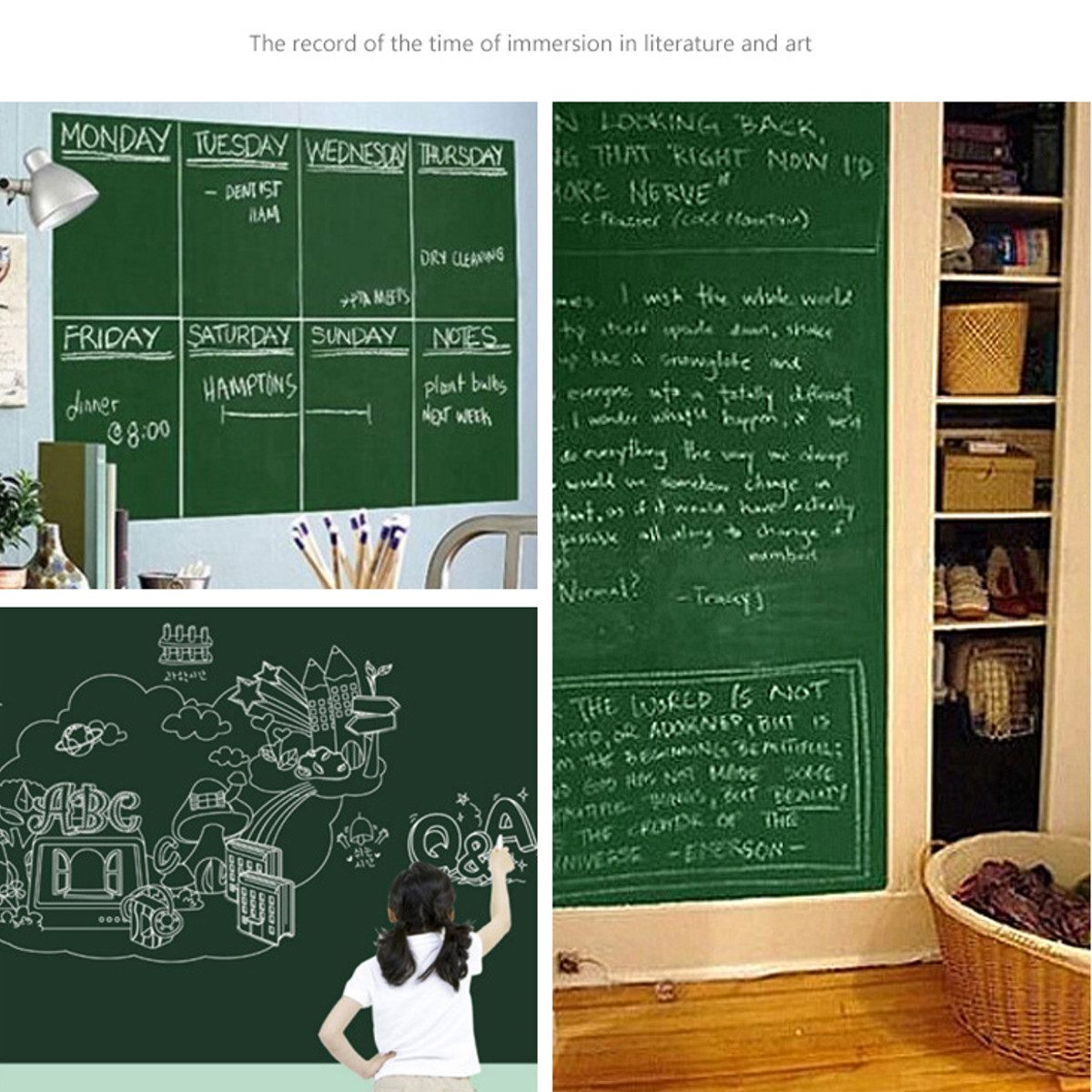 Self-adhesive Blackboard Stickers Children Graffiti Wall Stickers Office Presentation Boards Whiteboard Chalk Drawing 45X100cm