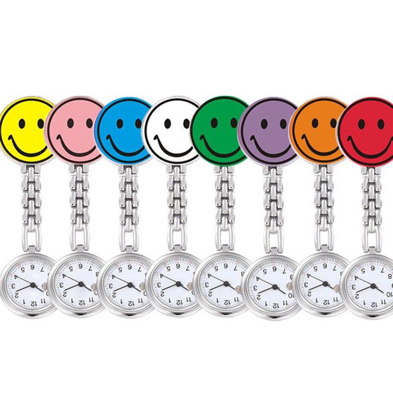 2018 Nurse Watches 1 PC Brooch Fob Medical Nursery Clocks Colorful Smile Faces Quartz Pocket Pendant Hanging Pocket Watch