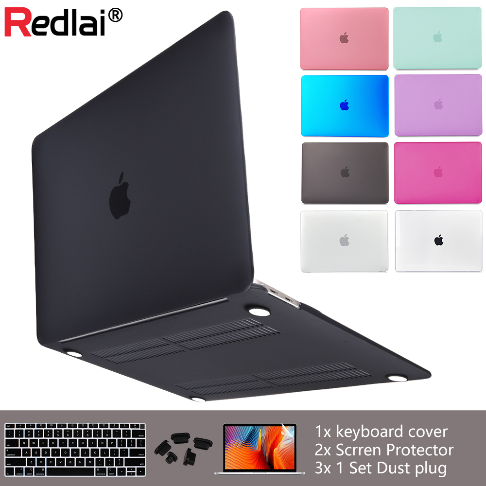 Redlai Luxury New Matte Case For Macbook Air 11 13 inch For Mac Book Pro 13 15 Retina Touch Bar with Keyboard cover + Dust plug(China)