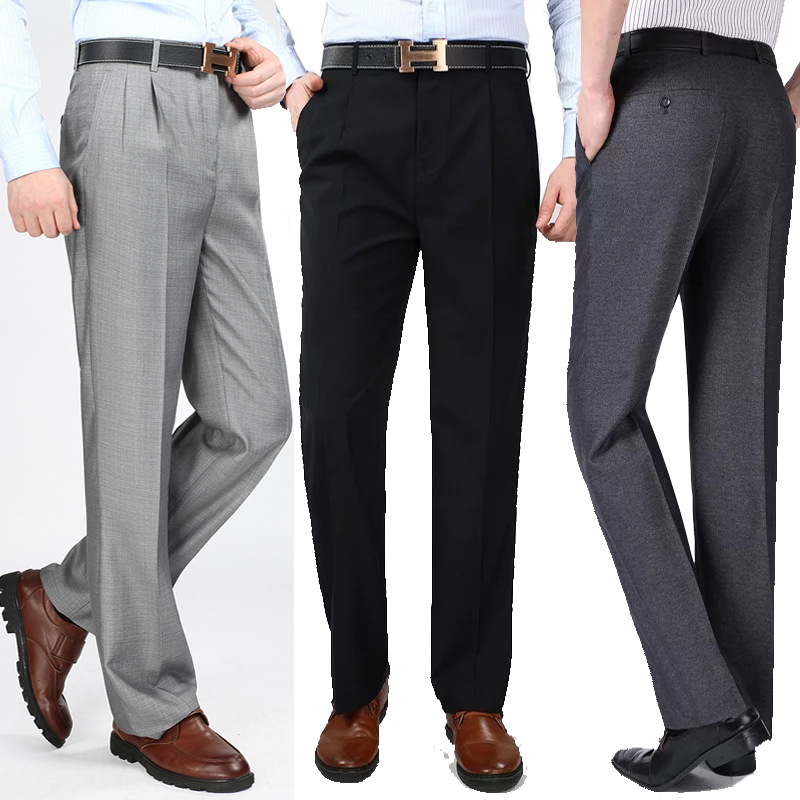 New Summer Thin Pleated Smooth Men Trousers High Waist Loose Business Casual Men's Suit Pants Fold Anti Wrinkle Dress Trousers