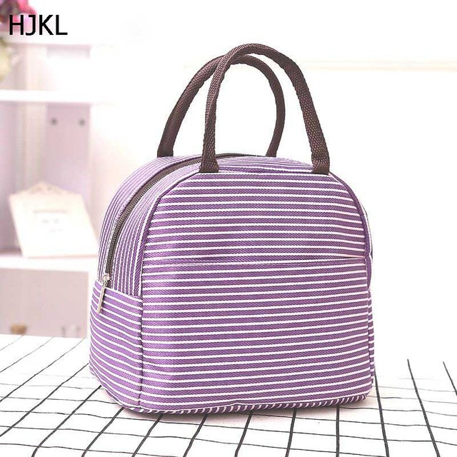 2018 New Striped Lunch Bags launch Box for Kid Work School Thermal Food Picnic Women Handbag