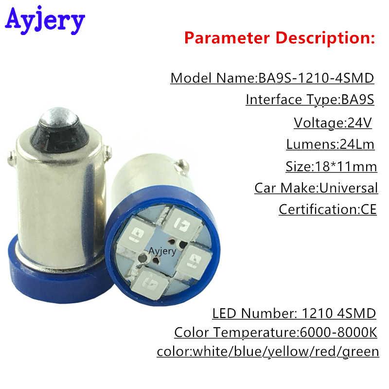 AYJERY 24 فولت تيار مستمر 10 قطعة BA9S T4W T11 1210 4 SMD LED لمبات أبيض أزرق أحمر أخضر العنبر خريطة أضواء 4 المصابيح أضواء السيارات السيارات